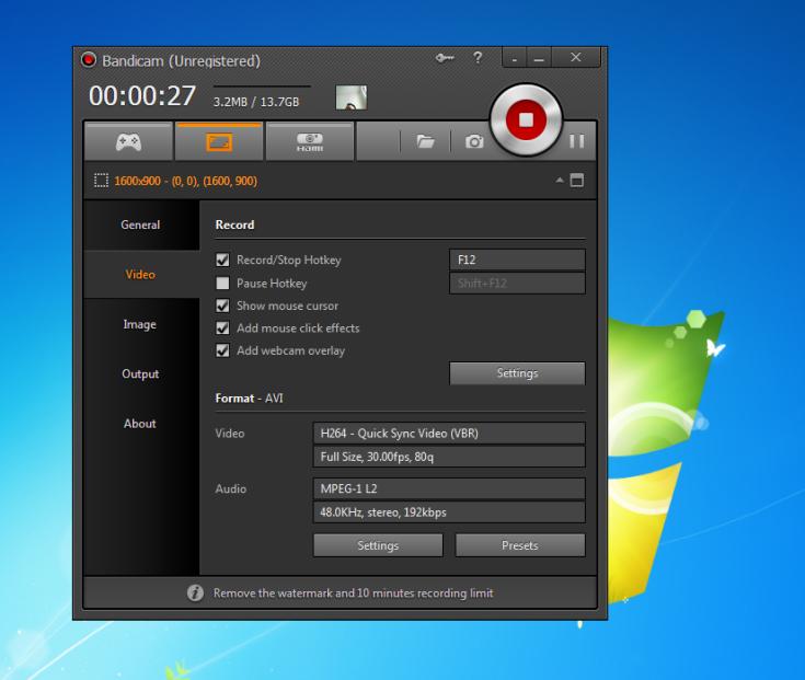 Bandicam screen recording mode