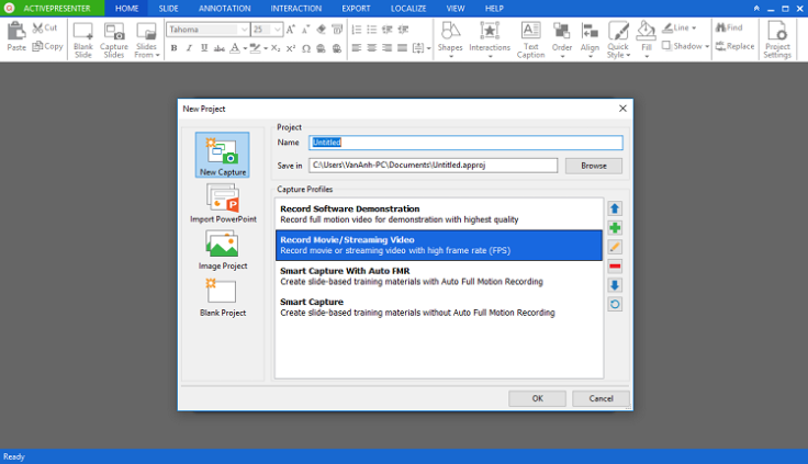 Giao diện phần mềm ActivePresenter