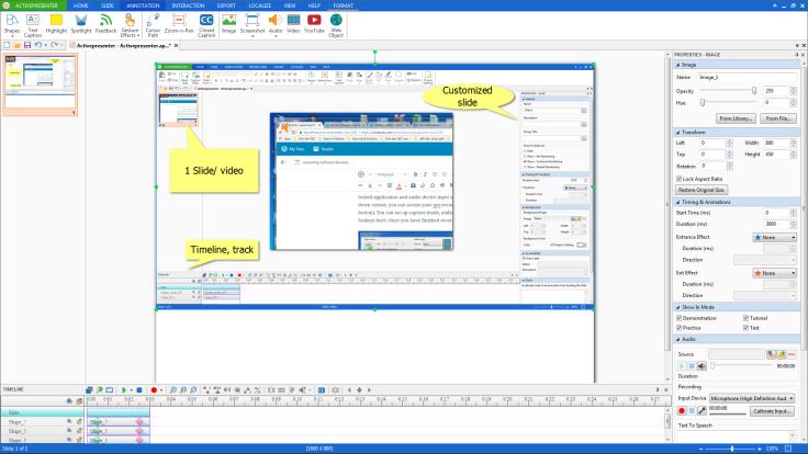 Giao diện chỉnh sửa video ActivePresenter