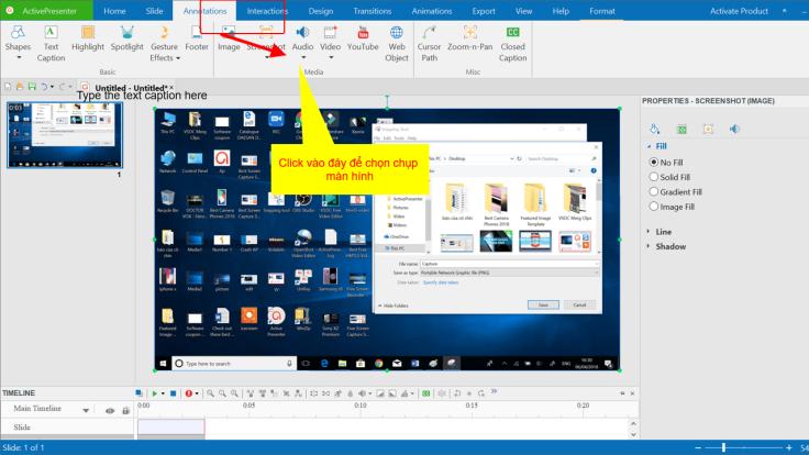 Chụp ảnh màn hình bằng ActivePresenter